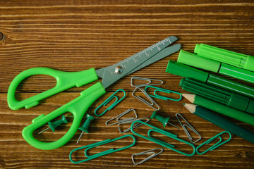 scissors and color pencils and clips