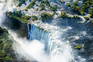 Victoria falls waterfall on Zambezi river from the air