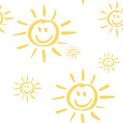 Smiling Sun Seamless Pattern