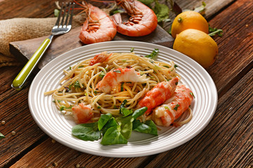 spaghetti with shrimps and assorted herbs - Italian food