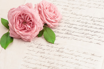 Pink rose flowers and old handwritten letter