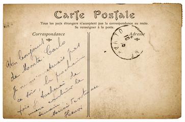 Old handwritten postcard mail paper texture edges