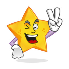 Peace star mascot, victory star character, star cartoon vector
