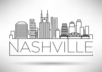 Minimal Nashville Linear City Skyline with Typographic Design