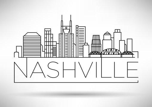Minimal Nashville Linear City Skyline with Typographic Design