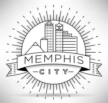 Minimal Memphis Linear City Skyline with Typographic Design