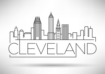 Minimal Cleveland Linear City Skyline with Typographic Design