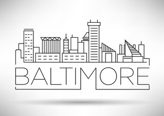 Minimal Baltimore Linear City Skyline with Typographic Design
