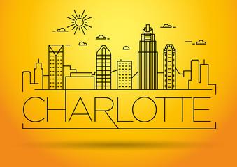 Minimal Charlotte Linear City Skyline with Typographic Design