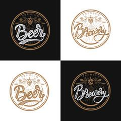 premium beer emblems. Handwritten lettering logo, label, badge.Vector illustration.