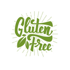 Gluten free. Hand drawn lettering phrase isolated on white background. Vector illustration