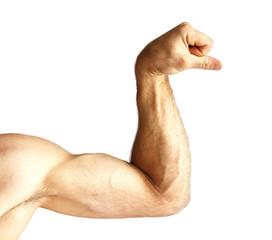 A man shows arm strength.