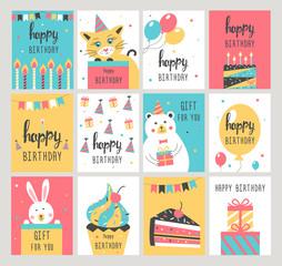 Happy Birthday card set. Vector illustration.