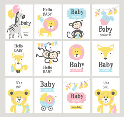 Set of baby shower cards on white background. Vector illustrations