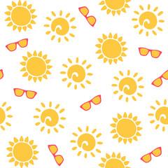 Seamless sun pattern. Vector illustration