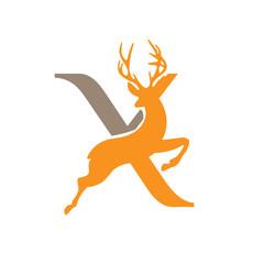 Logo Orange Deer Letter X Concept