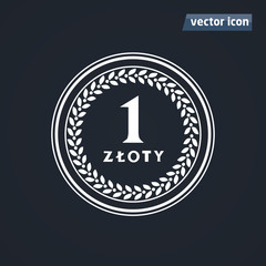 1 zloty old coins vector