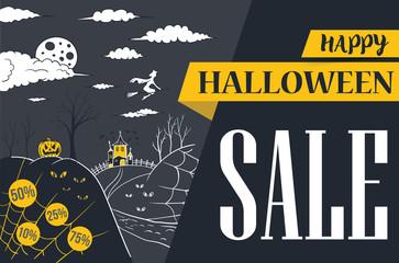 halloween banner sale vector illustration