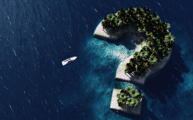 3d rendering of Question sign Shaped Island