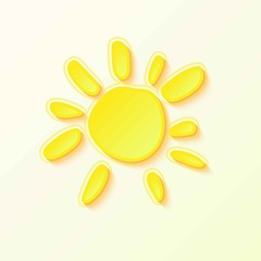 Hot Summer Sun with yellow rays on white sky.