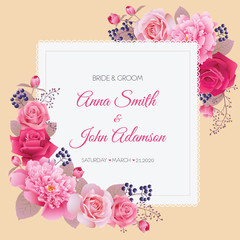 Wedding floral template collection.Wedding invitation, thank you card, save the date cards. Vector illustration. EPS 10