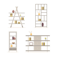A set of shelves for books and vases on a light background. Classic furnishings. Flat design, minimalist style. Vector illustration.
