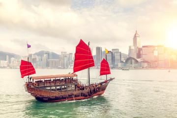 Foto op Aluminium Hong-Kong Sunset Over Victoria Harbour in Hong Kong