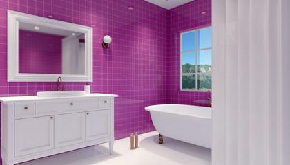Small, modern bathroom interior. 3D rendering