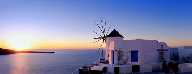 Poster Santorini Windmill in Oia, Santorini, at sunset