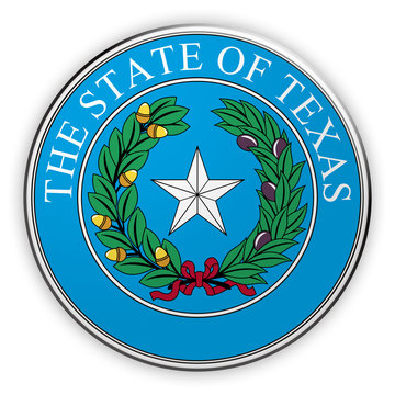 Badge US State Seal Texas, 3d illustration