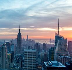 Photo sur Aluminium New York View of New York Manhattan during sunset hours