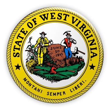 Badge US State Seal West Virginia, 3d illustration