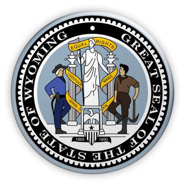 Badge US State Seal Wyoming, 3d illustration