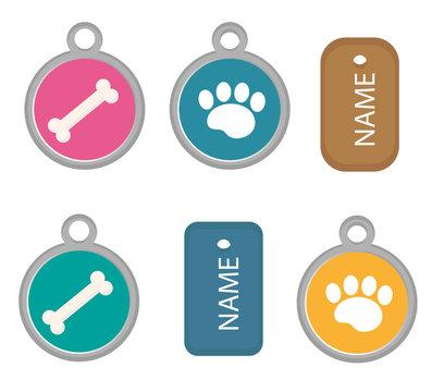 Medallion, dog tag set of icons, flat, cartoon style. Isolated on white background. Vector illustration, clip-art