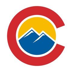 colorado hill logo vector. letter C logo vector.