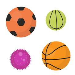 Balls set  icons, flat, cartoon style. Collection of football, basketball, tennis. Isolated on white background. Vector illustration, clip-art