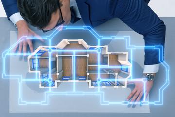 Designer working on 3d futuristic apartment design