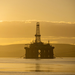 Stacked Semi Submersible Oil Rig at Cromarty Firth in Invergordon, Scotland, UK