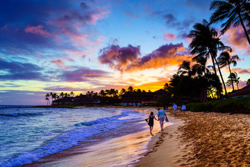A Romantic Sunset on Kauai, Hawaii