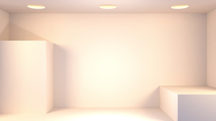 3d rendering picture of empty room and ceiling lights.