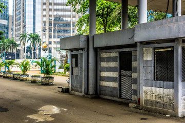 Security posts in main gateway at office building photo taken in Jakarta Indonesia