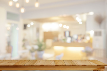 Empty Table on cafe background.