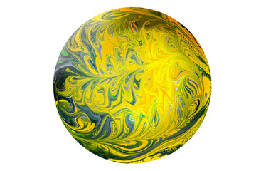 A marbled yellow, green and blue sphere made from swirled paint pattern