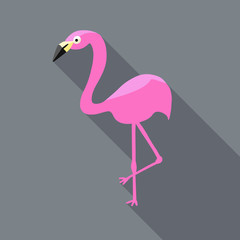 flamingo vector in flat icon design with shadows, hot pink bird icon or illustration, flamingo is standing on one leg on gray background