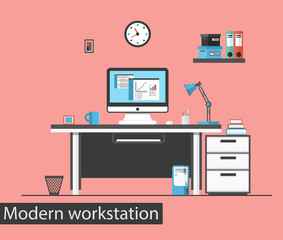 Flat design vector illustration of modern creative office workstation. Office interior.
