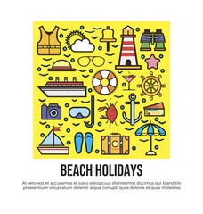 Beach holidays information banner vector illustration. Cruise related icons