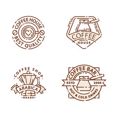 Coffee badge food thin line lettering for restaurant, cafe menu coffee house and shop sticker vector.