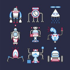 Robots android for doing household set on dark blue background