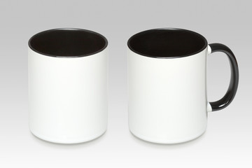 Two positions of a white mug on a gray background