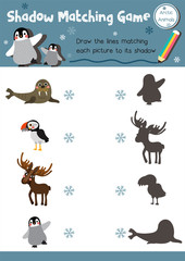Shadow matching game of arctic animals for preschool kids activity worksheet layout in A4 colorful printable version. Vector Illustration.